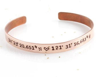 Coordinates Bracelet | Coordinate Jewelry | Hand Stamped Jewelry | Copper Jewelry | Location Bracelet | Personalized Bracelet