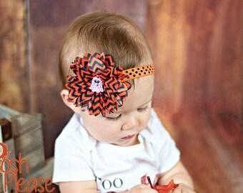Newborn Fall Headband Orange and Black Headband Rhinestone Ghost Headband Baby Girl Halloween Headband Accessories Infant Headband