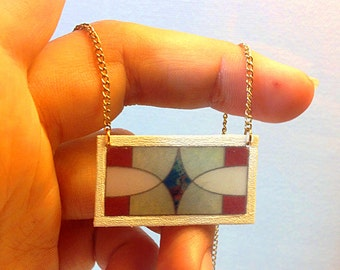 Stained Glass Transom Window Necklace with Marbled Blue Diamond – New Orleans Architectural Detail Jewelry