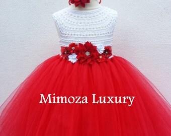 Christmas dress outfit, Santa dress, red Christmas  princess tutu costume dress white red birthday tutu dress