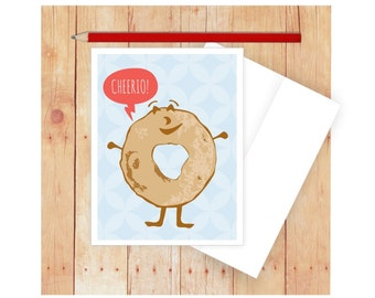 Cheerio Card, Food Pun, Cheers Card, Goodbye Card, Blank Note Card, Blank Greeting Card, Get Well Wishes, Funny Note Card,Card for Friend
