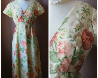 Vintage 60's 70's Emma Domb of California Luncheon Floral Chiffon Maxi Long Dress