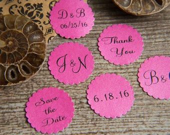 25 Fuchsia Save the Date, Printed Envelope seals, wedding stickers invitations. Scalloped Round Favour stickers. Matt Pearlised shimmer
