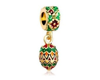 Faberge Bead, Christmas Charm, Large Hole Bead, European Bead, Charm Bead, Charm Bracelet, European Charm, Big Hole Bead, Green, Red, Gold