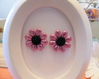 Glitter Pink & Black Flower Stud Earrings