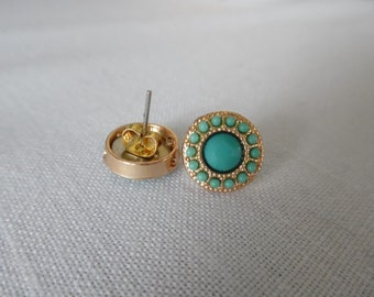 Turquoise stud earrings / turquoise studs / turquoise earrings / gold studs / gold and turquoise earrings / stud earrings