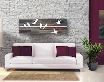 Birds on a Wire [Maroon Color Scheme} Reclaimed Barnwood Wall Art - Modern Rustic
