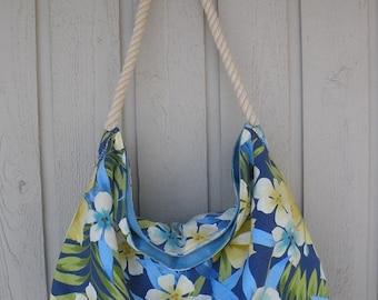 Large Beach Bag | Blue Floral Tote | Hawaiian Tote Bag