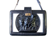 VTG 60s 70s Hand Tooled Leather Mexican Purse | Etched Black & White Monterrey Leather Bag | Pony Hair Crossbody Bag