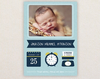 Boys Photo Birth Announcement. Iconics. I Customize, You Print.