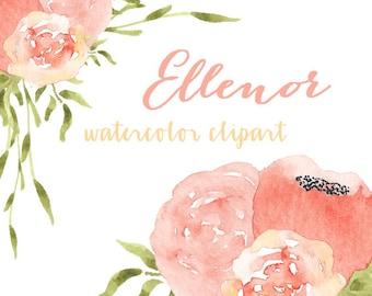 Watercolor Flower Clip Art // Digital Clip Art // Commercial Use
