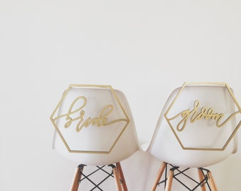 Geometric Bride + Groom Chair Backs