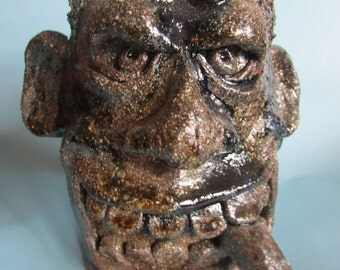 Alkaline Wood Ash Glazed Cigar Smoking Face Jug
