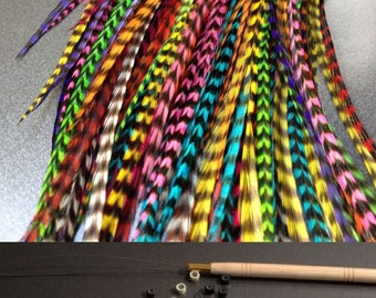 Feather Hair Extensions Kit Lot 10 Wholesale Natural Real Colors ALL GRIZZLY KIT