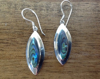 Gorgeous Paua Shell Sterling Silver Earrings - Stunning Colours