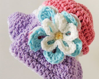 Baby Girl Sunhat, Summer hat with Brim and Blue Flower,  Newborn - 3 months, Pink and Purple