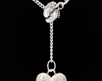 Aunt Gift, Aunt Necklace, Baby Footprints Feet Aunt Heart Gift Y Lariat Necklace