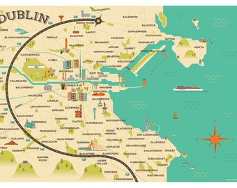A1 size Dublin Map Illustration