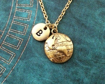 Globe Necklace Gold World Necklace Travel Necklace Earth Necklace Personalized Jewelry Globe Charm Necklace Long Distance Relationship Gift