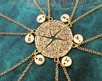 Pizza Friendship Necklace Set Of 6 Pizza Slices Personalized Bridesmaid Necklace Gold Pizza Set Whole Pizza Jewelry Pepperoni Pizza Necklace