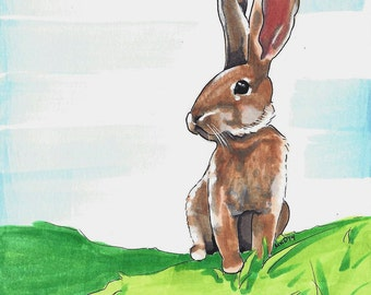 Original Drawing of Bunny Rabbit 6x6 Copic Marker