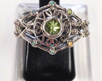 Art Deco Filigree Edwardian Antique  peridot + opal Sterling Silver 925  Ring sz 8