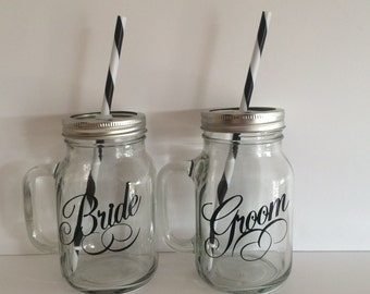 Bride and Groom Mason Jar Tumblers, Bride and Groom Cups, Bride and Groom Glass, Wedding Glasses, Wedding Gift, Bridal Shower Gift