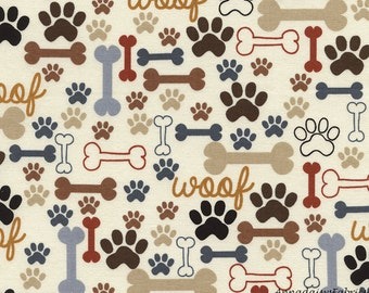 Brown Dog Paw & Dog Bones Fabric, Timeless Treasures Dog C2372, Paw Print Fabric, Woof Dog Fabric, Paws and Bones Quilt Fabric, Cotton