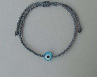 Teal blue evil eye,Braided bracelet,Acrylic bead,Unisex,Adjustable,Surfer,Waxed string,Water resistant,Traditional greek handmade jewelry
