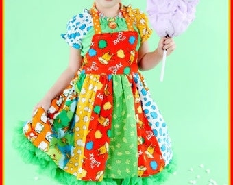 Boutique custom handmade pageant girls Lorax inspired dress and blouse