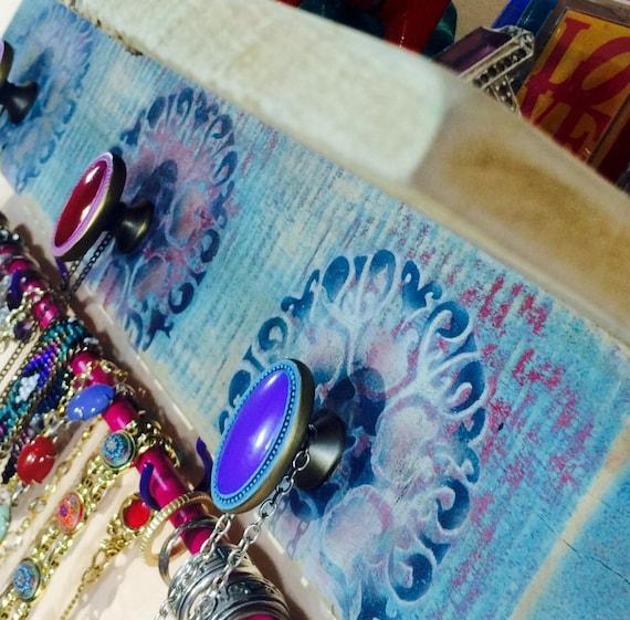 Floating shelves /pallet wood wall organizer shelf /jewelry holder /accent shelving blue stenciled mandalas 3 knobs 2 hooks bracelet bar