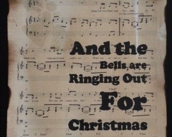 Christmas wall art, The Pogues, Fairytale Of New York sheetmusic, with handfinished song lyric. A4/A3, Christmas decoration, festive artwork