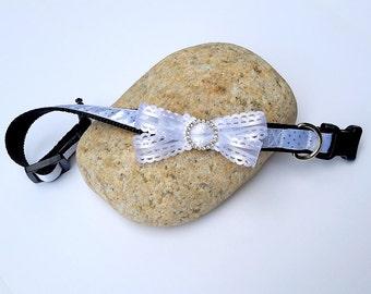 Dressy Dog Collar, White Wedding Dog Collar, wedding pet, SublimeBirdy, Unique Dog Collar, medium dog collar, pretty dog collar