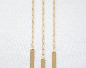 Personalized Gold Tag Necklace // 14k gold filled hand-stamped necklace