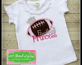 Girls Football Princess Bodysuit or Shirt, Girls Football Shirt, Girls Sports Shirt, Embroidered or Appliqué Shirt