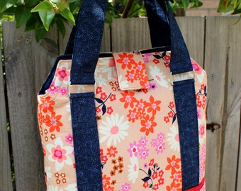 Tote bag, large tote bag, large bag, lined tote bag, womens tote bag, floral tote bag, womens tote, peach navy tote