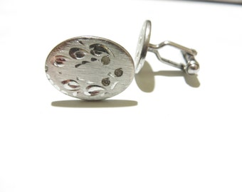 1950s Anson Solid Sterling Silver Etched Cufflinks