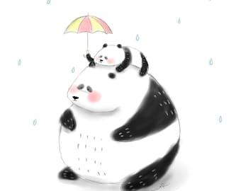 Panda. Father's Day card. art print. Father's Day gift. Nursery art print