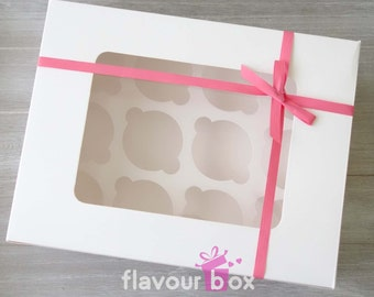 20x White 12-Holes Cupcake Boxes with PVC window (with inserts) • Bakery Packaging • Cake Box • Cupcake Carrier