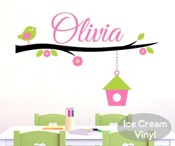 Name Wall Decal Bird Tree Branch for Girls Boys Nursery Bedroom Vinyl Childrens Decor
