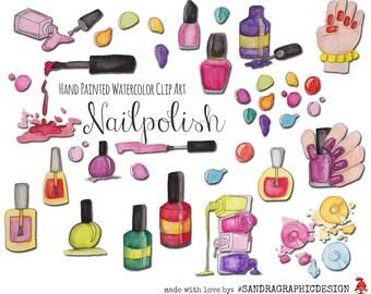 """Nail polish clip art: """"NAIL POLISH"""" with nail polish clipart 300dpi PNG files (5145)"""