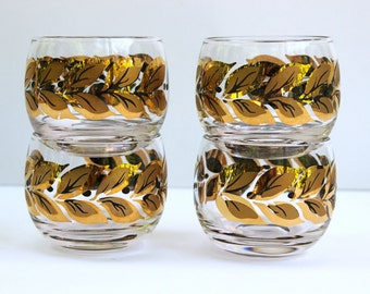 Roly Poly Glasses Gold Leaf Design