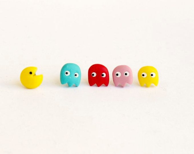 Pac man inpired  stud earrings. Video  game  jewelry. Pac Man and blue,red,yellow,pink ghost. Pac  man jewelry.Hypoallergenic stud  earrings