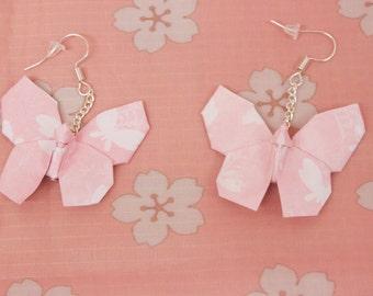 Pink Butterflies Origami Butterfly Earrings
