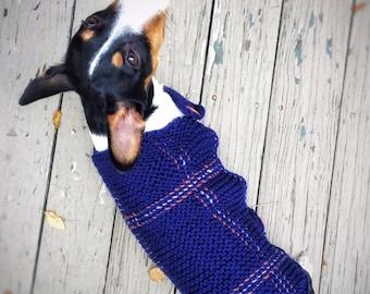 Knit Plaid Dog Sweater Dachshund Unique Handmade Tartan Long-Torso Little Dog Sweater