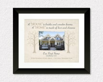 Custom Housewarming Gift, Personalized New House Print with Photo, Wedding Present, Our First Home, Couples Gift, Real Estate Agent Gift
