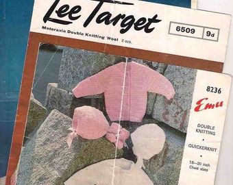 Baby knitting patterns, knitting for babies, Lee Target 6509, Emu 8236, Lincoln Trio Knits 721, 1960s 60s sixties, vintage knitting