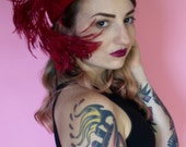 1940s Jack McConnell Hat / 40s Hat / Red Feather Halo Hat / Feathered Cocktail Hat / Rockabilly / Pinup