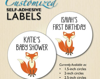 CUSTOM Fox Baby Shower Stickers, 1st Birthday Favor Labels, Candy Buffet, Mason Jar, Envelope Seals, Neutral, Woodland, Forest, Personalized