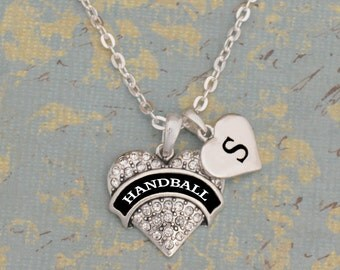 Custom Initial Handball Heart Necklace